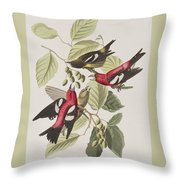 White-winged Crossbill Throw Pillow