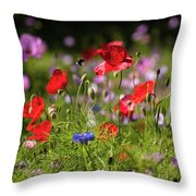 Wild Flowers And Red Poppies Throw Pillow