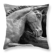 Wild Mustang Statue I V Throw Pillow