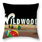 Wildwood's Sign At Night On The Boardwalk  Throw Pillow