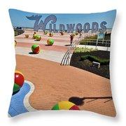 Wildwood's Sign, Boardwalk Wildwood, Nj. Copyright Aladdin Color Inc. Throw Pillow