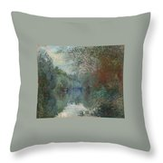 Willows At The Edge Of The Yerres Throw Pillow