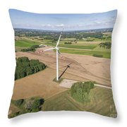 Wind Turbines In Suwalki. Poland. View From Above. Summer Time. Throw Pillow