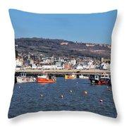 Winter Harbour - Lyme Regis Throw Pillow