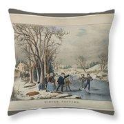 Winter Pastime Throw Pillow