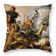 Wolf And Fox Hunt Throw Pillow