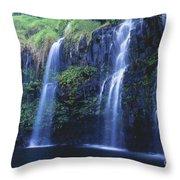 Woman At Waterfall Throw Pillow