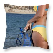Woman Getting Ready To Go Snorkeling Throw Pillow