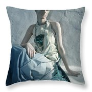 Woman In Ash And Blue Body Paint Throw Pillow