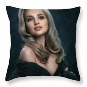 Woman In Big Curls Hollywood Glam Look Throw Pillow