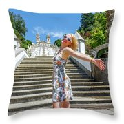 Woman In Portugal Throw Pillow