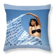 Woman In Sarong Throw Pillow