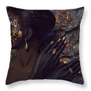 Woman In Splattered Golden Facial Paint Throw Pillow