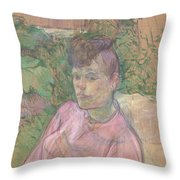 Woman In The Garden Of Monsieur Forest Throw Pillow