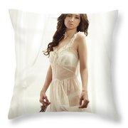 Woman In Vintage Negligee Throw Pillow