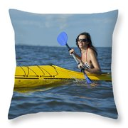 Woman Kayaking Throw Pillow