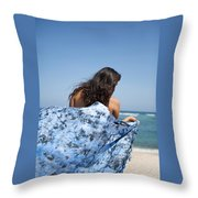 Woman On Beach Throw Pillow