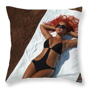 Woman Sunbathing Throw Pillow