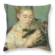 Woman With A Cat Throw Pillow