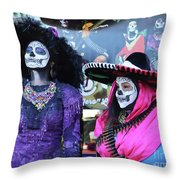 2 Women Day Of The Dead  Throw Pillow