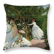 Women In The Garden Throw Pillow