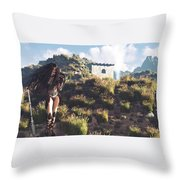 Women Warrior Throw Pillow