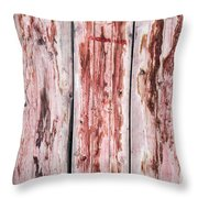 Wood Background With Faded Red Paint Throw Pillow