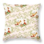 Woodland Fairytale - Animals Deer Owl Fox Bunny N Mushrooms Throw Pillow