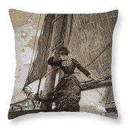 Yachting Girl Throw Pillow
