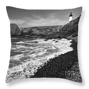 Yaquina Lighthouse On Top Of Rocky Beach Throw Pillow