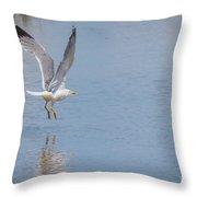 Yellow Legged Gull Take Off Throw Pillow