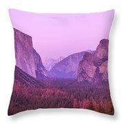 Yosemite Pink Sunset Throw Pillow