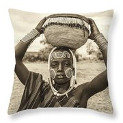 Young Boy From The African Tribe Mursi, Ethiopia Throw Pillow