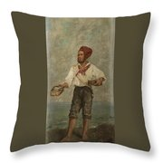 Young Fisherman In The Gulf With Capri At A Distance Throw Pillow