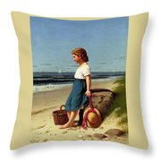 Young Girl At The Seashore Throw Pillow