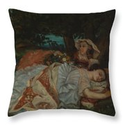 Young Ladies On The Bank Of The Seine Throw Pillow