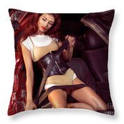 Young Woman In A Crashed Car Throw Pillow