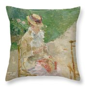 Young Woman Knitting Throw Pillow
