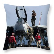 An F-14d Tomcat On The Flight Deck Throw Pillow by Gert Kromhout