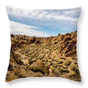 Rocks, Mountains And Sky At Alabama Hills, The Mobius Arch Loop  Throw Pillow