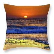 Sunrise Seascape And Rock Platform Throw Pillow