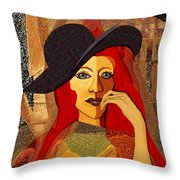200 - Woman With Black Hat .... Throw Pillow