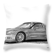 Corvette Roadster, Silver Ghost Throw Pillow