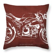 2011 Speed Triple Triumph Motorcycle Blueprint Red Background Artwork Christmas Gift For Men Throw Pillow