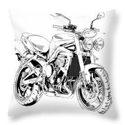 2011 Triumph Street Triple, Black And White Motorcycle Throw Pillow