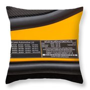 2012 Mc Laren V. I. N. Tag Throw Pillow