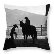 201208107-047k Cowgirls Preparing To Ride 2x3 Throw Pillow