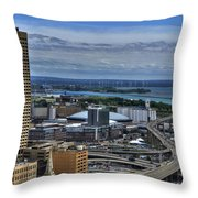 2015 View Of The Skyway And New Harbor  Throw Pillow