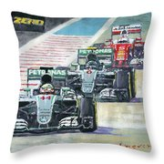 2016 Abu Dhabi Gp Mercedes Hamiltom Rosberg Ferrari Vettel Throw Pillow