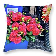2016 Monona Farmer's Market Blue Bucket Of Dahlias Throw Pillow